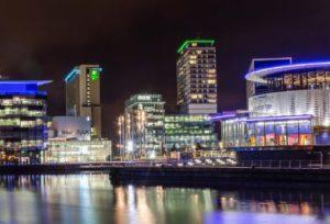 manchester media city at night